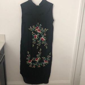 Zara long black embroidered blouse